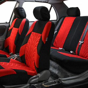Red Black Seat Covers For Auto Car Suv Full Interior Set Front Back