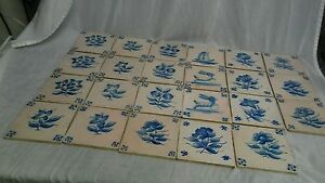 23 Antique Dutch Delft Mixed Lot Tiles