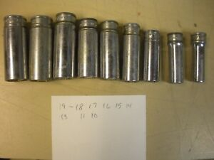 Set Of 9 Snap On Deep Sockets M M 3 8 Drive 6 Point