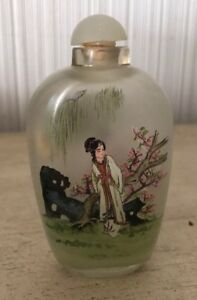 Vintage Antique Asian Chinese Reverse Painted Glass Snuff Bottle Jade Lid