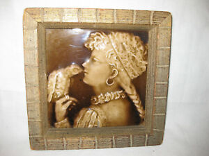 Antique Portrait Tile Of A Young Girl With A Bird Framed 19 Cent