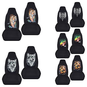 Fits 2001 2004 Ford Escape Front Set Cotton Car Seat Covers Design Char Blk Choo