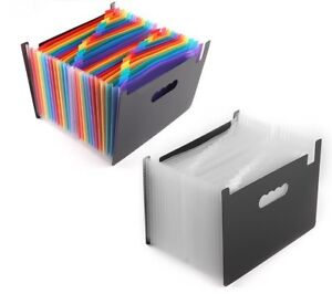 Expanding File Folder Portable Accordion 24 Pocket Business Organizer With Label
