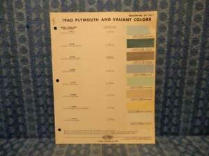 1960 Plymouth Valiant Original Paint Color Chip Chart 3 Pages