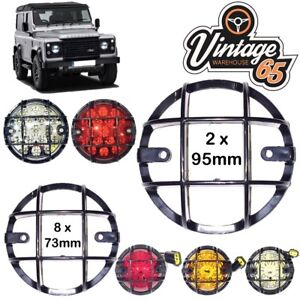 Land Rover Defender Front Rear 73mm 95mm Light Grilles Lamp Stone Guards Set 10