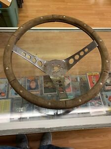 Fair Condition 13 1 2 Inch Superior 500 Wood Steering Wheel Vintage Chrome Holes
