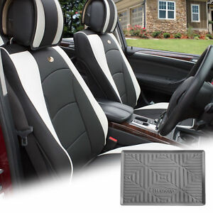 Pu Leather Seat Cushion Covers Front Bucket White W Gray Dash Mat For Auto