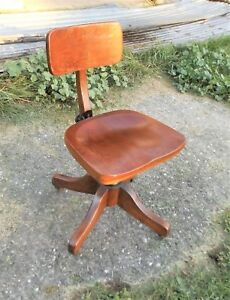 Antique Solid Oak Swivel Office Desk Chair Completely Adjustable Beautiful
