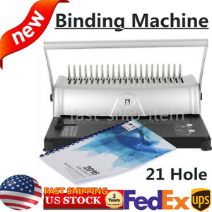 Manual Comb Binding Machine Home Paper Punch Office Business Used 21 Hole Square