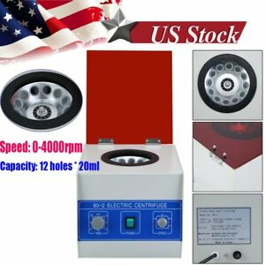 12 20ml Electric Benchtop Centrifuge Lab Medical Practice 4000rpm Laboratory Bh