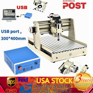 400w 4 Axis 3040t Cnc Router Engraving Milling Carving Machine 110v 3d Cutter Us