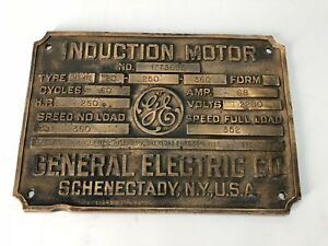 Vintage General Electric Ge Induction Motor Base name Plate Solid Brass Antique