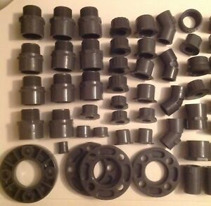 Lot Of 66 Various Pvc Connectors fittings 1 4 1 2 3 4 1 1 4 1 1 2 45