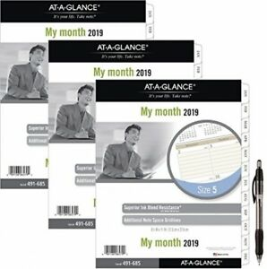 At a glance Day Runner Monthly Planner Refill January 2019 December 2019 3pk