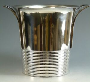 French Silver Plate Art Deco Ice Bucket Ribbed