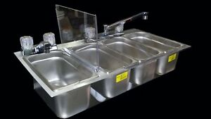 Large 4 Compartment Sink Drop In Food Cart Truck Trailer