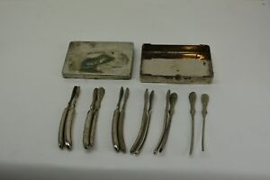 Antique Medical Surgical 12 Pc Box Set Stainless Steel Various Sizes