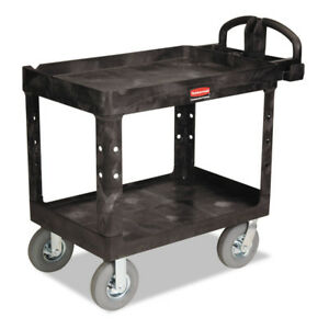 Rubbermaid Heavy duty Utility Cart Two shelf Black 452010bla New