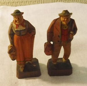 Switzerland Carved Wood Peasant Couple 3 3 8 Inches Tall Part Of A Collection