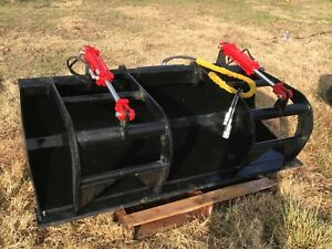 New Wildkat 72 Hydraulic Skid Steer Grapple Bucket Fits All Skidsteers