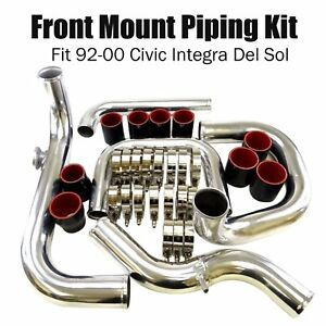 Fit 1992 2000 Civic Integra Del Sol Bolt On Turbo Front Mount Piping Kit