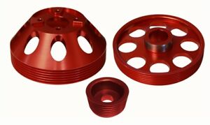 Lightwt Water Pump crank alternator Pulley Combo Red Fits Genesis Coupe 3 8 10