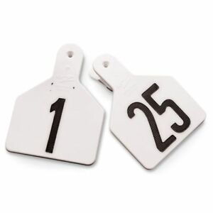 Y tex 4 Numbered Ear Tags White 1 25 25 Tags package Prevent Cracking Flexible
