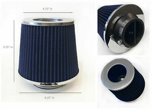 Blue 3 Inch 76mm Cold Air Intake Cone Filter For Civic Del Sol Crx Accord