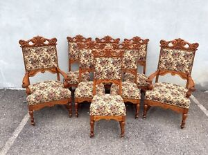 Set Of 8 Heavly Carved Oak Dining Chairs 1890s Horner Era Victorian