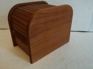 Teak Roll Top Box Desk Wood File Business Cards Century Danish Modern Vintage