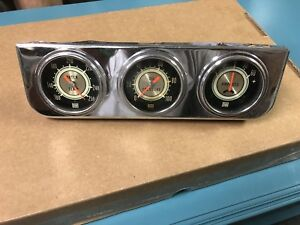Stewart Warner 2 5 8 Green Line Gauges In Panel Original Camaro Yenko Nova Duce