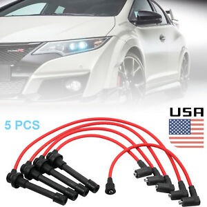 5pc New Spark Plug Ignition Wire Set High Perfomance For Honda Accord Civic Core