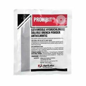 Prohibit Levasole Oral Wormer Drench Water Sheep Cattle 52gm pkg 6 Packages