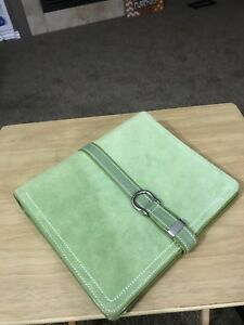 Franklin Covey Olive Green Textured Cow Suede Leather 7 Ring Binder Organizer
