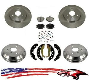 Front Rear Rotors Drums Brake Pads Shoes Spring Kit For Smart Car Fortwo 05 15