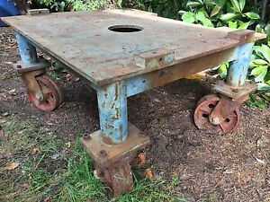 Antique Industrial Rolling Factory Cart W Cast Iron Wheels 1 2 Inch Steel Top