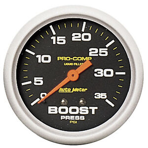 Autometer 5404 Pro Comp 2 5 8 Liquid Filled Boost Gauge 0 35 Psi Mechanical