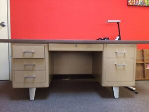Extra Large Teachers Desk Atomic Metal Table Steelcase Tanker Desk By Thedoorman