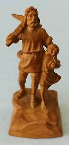 Hand Carved Wood Figure Man With Pick And Child 4 Inch