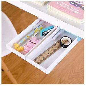 Pencil Tray Under Desk Drawer Organizer Storage Self stick pink And Blue