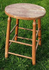 Vintage Tall Wood Stool