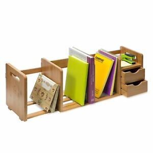 Idk Luxury Bamboo Wood Desk Organizer Bookshelf Rack With Two Shelves Three