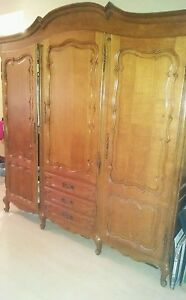 Antique French Country Wardrobe Armoire 3 Door Shelves