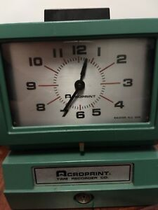Acroprint Time Recorder Model 125nr4 No Key Works Great Needs Ribbon
