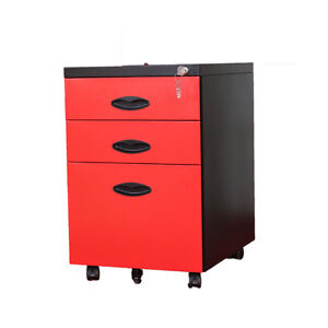 3 Color Rolling Mobile 3 drawer Office File Cabinet With Wheels In Black