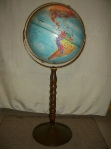Replogle 12 World Nation Floor Stand Relief Map Globe 30 Tall Educational