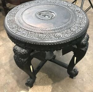 Antique Carved Anglo Indian Table With Elephant Heads