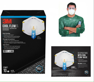 Case Of 4 10 Box Masks 3m 8511 N95 Dust Particulate Respiratory Protection