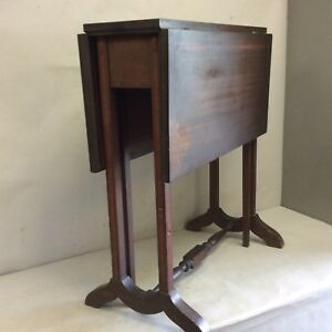 Antique Mahogany Banded Inlaid Drop Leaf Table Small 24 Tall