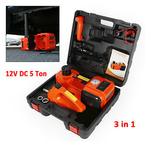 12v Dc 5 0t 11000lb Electric Hydraulic Floor Jack 3 In 1 Set W Impact Wrench